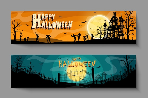 Conjunto de vetores de convites para festas de halloween ou cartões com caligrafia manuscrita e símbolos tradicionais.