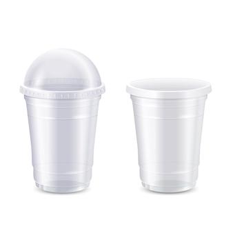 Conjunto de vetores de copo de plástico descartável claro vazio, 3d realista