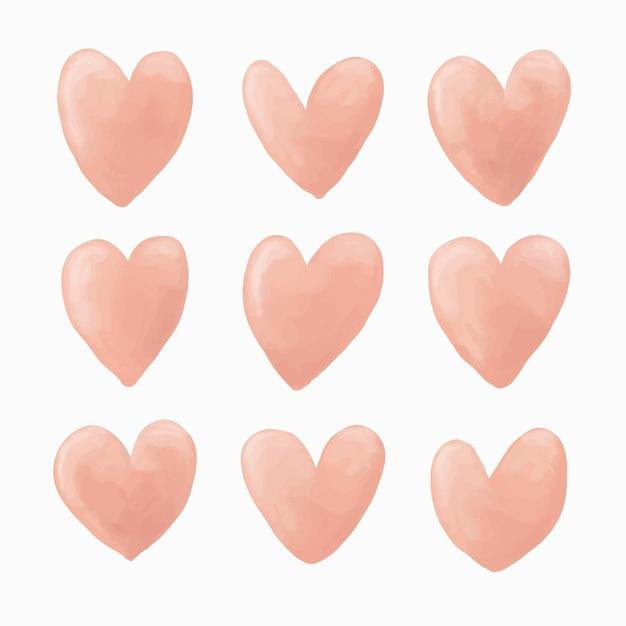 Conjunto de vetores de coração aquarela rosa, ilustração de amor fofo