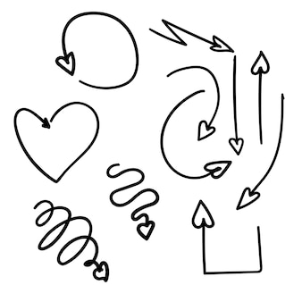 Conjunto de vetores de coração de flechas desenhadas à mão
