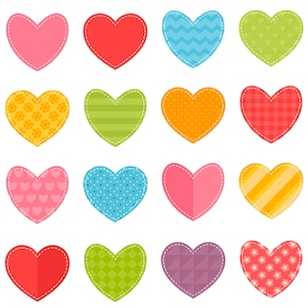 Conjunto de vetores de corações