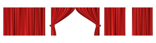 Conjunto de vetores de cortinas de seda vermelhas com luz e sombras do aberto e fechado