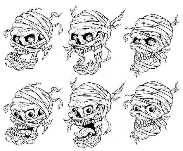 Conjunto de vetores de crânios de múmia assustador realista gráfico