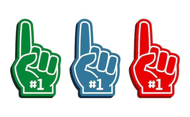 Conjunto de vetores de dedos de espuma colorida
