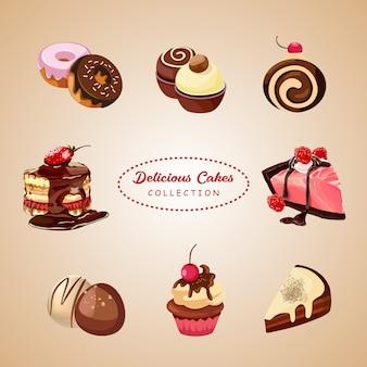 Conjunto de vetores de deliciosos bolos