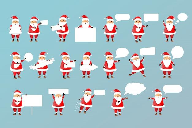 Conjunto de vetores de desenho animado isolado personagem de papai noel com modelos de papel em branco branco e bolhas do discurso para decoração e cobertura no espaço brilhante.