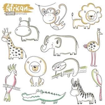 Conjunto de vetores de desenhos animados animais africanos selva colorida desenhada à mão leão crocodilo hipopótamo girafa