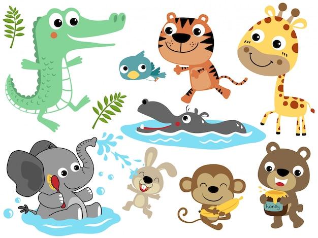 Conjunto de vetores de desenhos animados de animais engraçados