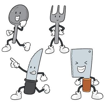 Conjunto de vetores de desenhos animados de colher, garfo e faca