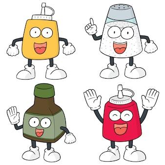 Conjunto de vetores de desenhos animados de garrafa de condimento
