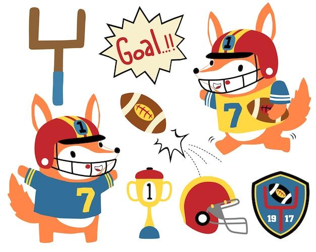 Conjunto de vetores de desenhos animados de jogador de rugby engraçado