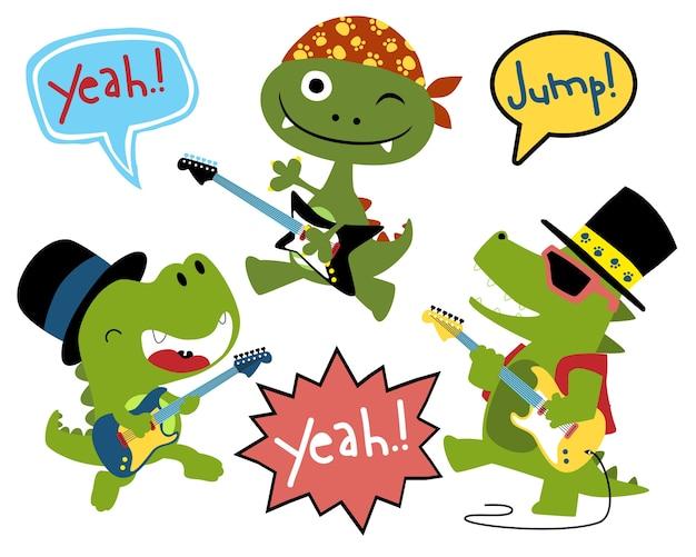 Conjunto de vetores de desenhos animados de jogadores de guitarra engraçado