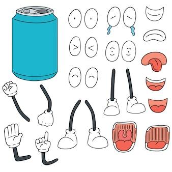 Conjunto de vetores de desenhos animados de lata