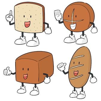 Conjunto de vetores de desenhos animados de pão
