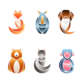 Conjunto de vetores de design animal fofo