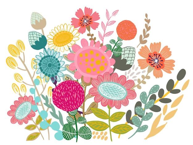 Conjunto de vetores de design de buquê de flores