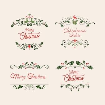 Conjunto de vetores de design de distintivo de natal