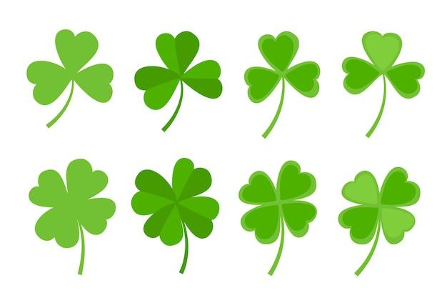 Conjunto de vetores de design de estilo plano de folha de trevo verde elementos decorativos de trevo do dia de são patrício