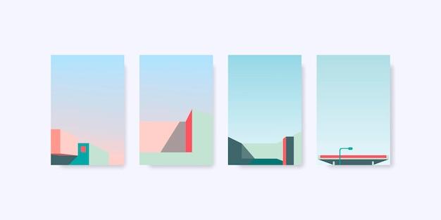 Conjunto de vetores de design de fundo pastel mínimo