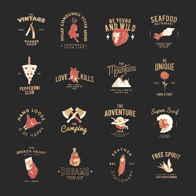Conjunto de vetores de design de logotipo de comida