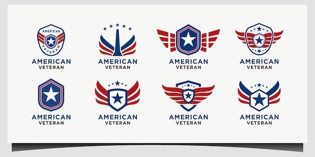 Conjunto de vetores de design de logotipo nacional patriótico de escudo veterano americano