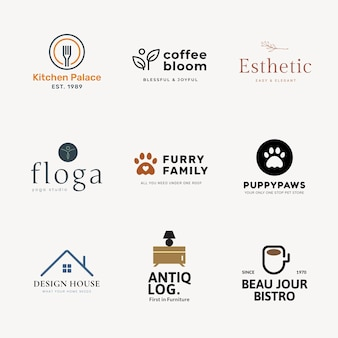 Conjunto de vetores de design de marca profissional modelo de logotipo comercial