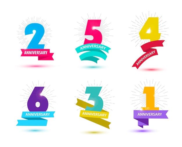 Conjunto de vetores de design de números de aniversário 1 2 3 4 5 6 composições de ícones com fitas