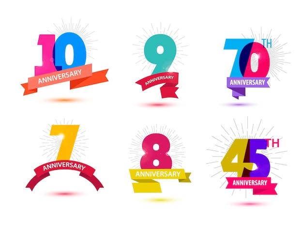 Conjunto de vetores de design de números de aniversário 10 9 70 7 8 45 composições de ícones com fitas