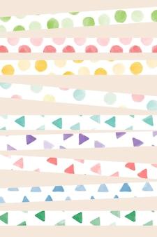 Conjunto de vetores de design de padrão sem emenda de linha colorida em aquarela