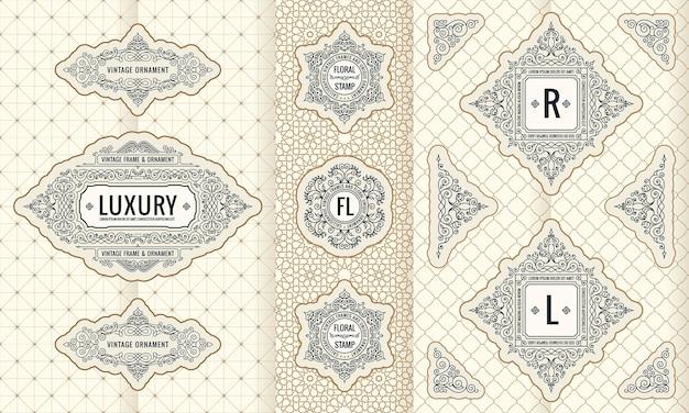Conjunto de vetores de design, moldura de logotipo de rótulos verticais e embalagem para o produto