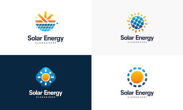 Conjunto de vetores de designs de logotipo de energia solar, logotipo de energia solar