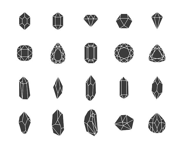 Conjunto de vetores de diamantes e cristais
