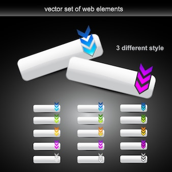 Conjunto de vetores de diferentes botões de estilo web