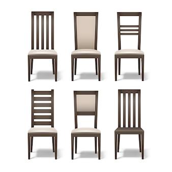 Conjunto de vetores de diferentes cadeiras de madeira marrons com estofamento bege macio, isolado no fundo branco
