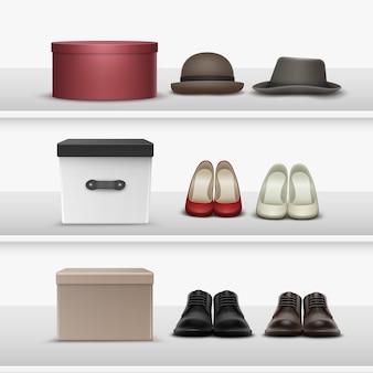 Conjunto de vetores de diferentes calçados e chapéus com caixas marrons, bege, brancas, pretas e marrons nas prateleiras