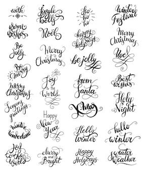 Conjunto de vetores de diferentes caligrafias de natal