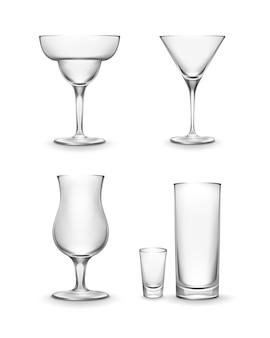 Conjunto de vetores de diferentes copos de coquetel vazios, isolado no fundo branco