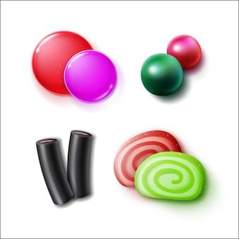 Conjunto de vetores de diferentes doces, doces, bombons e marmeladas rosa, verdes, vermelhos, pretos e close-up vista superior isolada no fundo branco