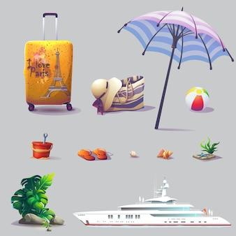 Conjunto de vetores de diferentes elementos sobre o tema férias e relaxamento.