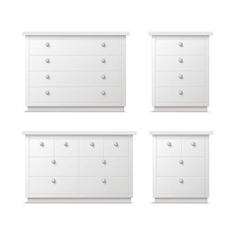 Conjunto de vetores de diferentes gavetas, mesinhas de cabeceira ou mesinhas de cabeceira brancas com alças, vista frontal isolada no fundo