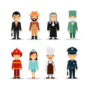 Conjunto de vetores de diferentes personagens de profissões de pessoas.