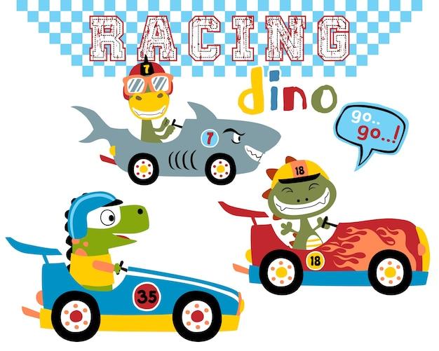 Conjunto de vetores de dinossauros car racing de desenhos animados