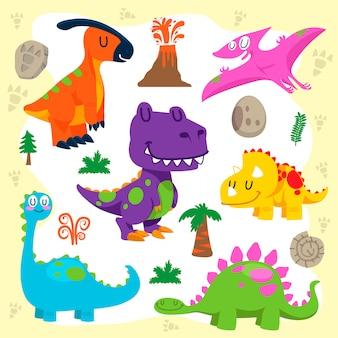 Conjunto de vetores de dinossauros fofos