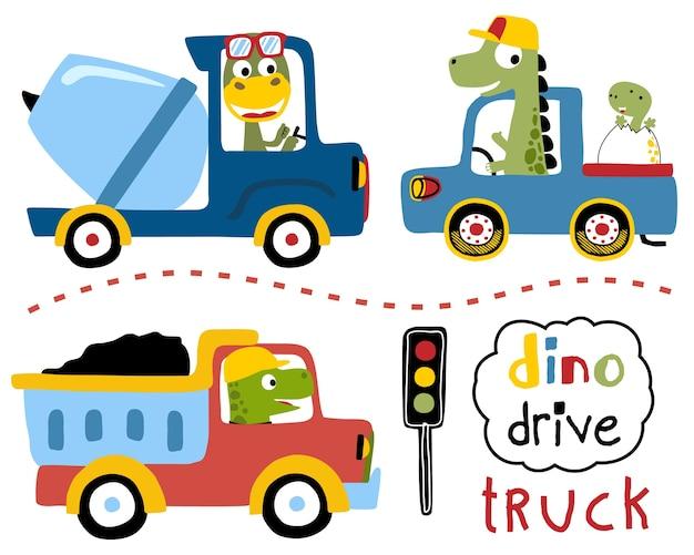 Conjunto de vetores de dirigir caminhões com dinossauros dos desenhos animados