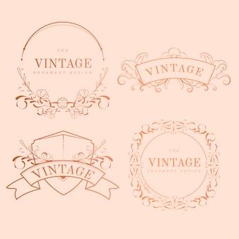 Conjunto de vetores de distintivo de nouveau art nouveau ouro vintage