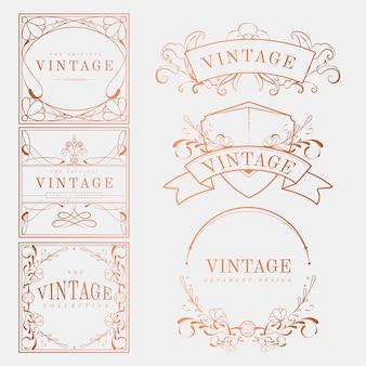 Conjunto de vetores de distintivo luxuoso vintage art nouveau