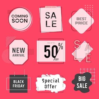 Conjunto de vetores de distintivos de venda e promoção