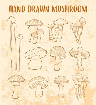 Conjunto de vetores de doodle de cogumelos desenhados à mão