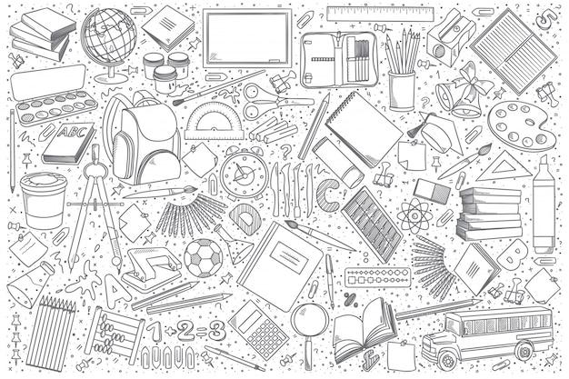 Conjunto de vetores de doodle de escola