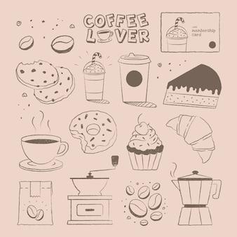 Conjunto de vetores de doodle para café e bolo